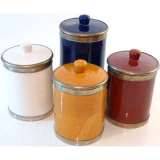 Large Rustic Ceramic Canister Set with Metal Trim (Morocco)