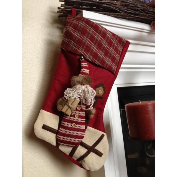 Santa With Gift Christmas Stocking