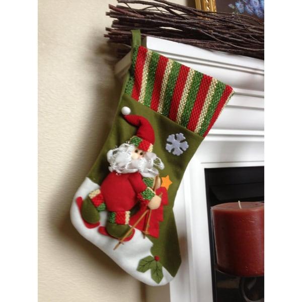 Ski Santa Christmas Stocking