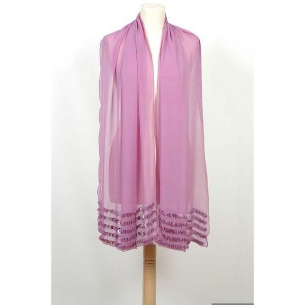Selection Privee Paris 'Peggy' Sequined Sheer Purple Silk Shawl