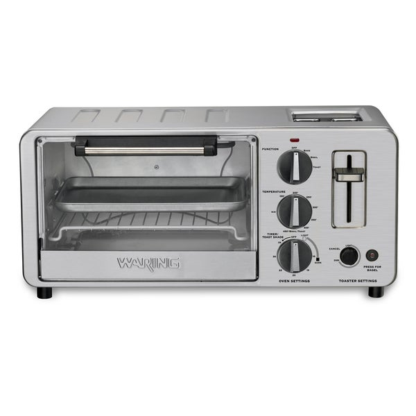 Waring WTO150 4-Slice Toaster Oven w/ Built-In 2-Slice Toaster