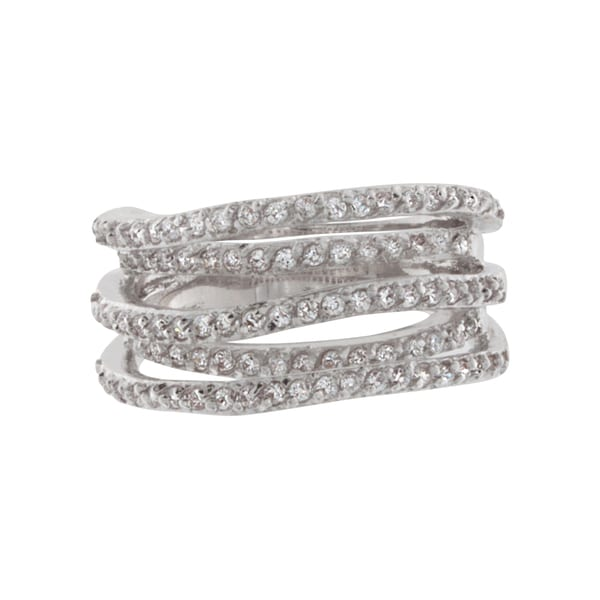 NEXTE Jewelry Silvertone Cubic Zirconia 5-row Waving Free-form Ring