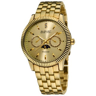 August Steiner Men's Gold Swiss Quartz Multifunction Diamond Watch