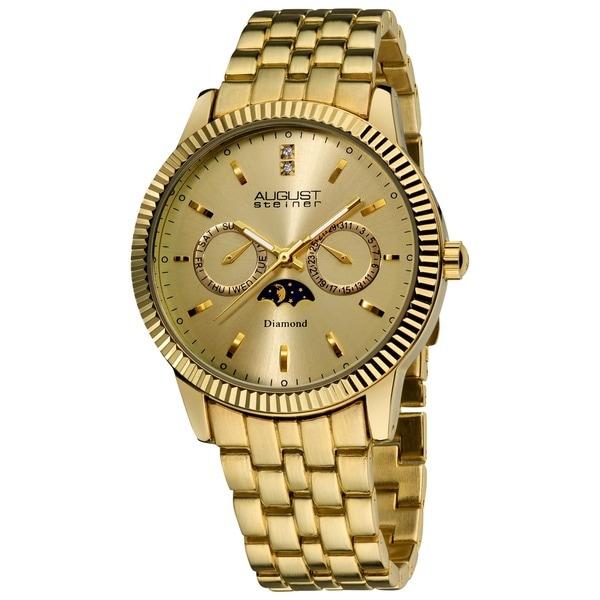 August Steiner Men's Swiss Quartz Diamond Moon Phase Coin Edge Watch 10431908