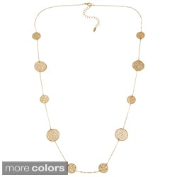 KC Signatures Goldplated Textured Disc Station Necklace