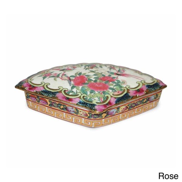 Rose Medallion Porcelain Fan Box