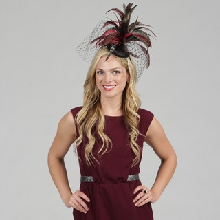 Swan Women&#39;s Black Feather Embellished Cocktail Fascinator