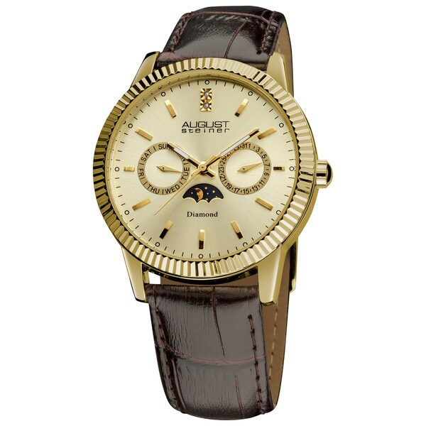 August Steiner Men's Swiss Quartz Multifunction Diamond Leather-Gold-Tone Strap Watch with FREE GIFT 10432157