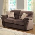 Evette Chocolate Microfiber Loveseat with Pillows