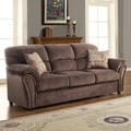 Evette Chocolate Microfiber Sofa with Two Pillows