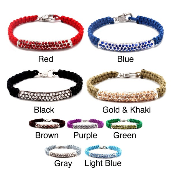 Multicolor Crystal Rhinestone Tube Macrame Macrame Bracelet