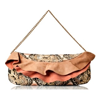 Vintage Reign Women's Leather Snake Embossed Ruffle Clutch