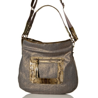Vintage Reign 'Matty' Snake Trim Canvas Hobo Bag