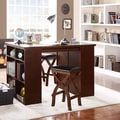 Jaidyn Espresso 3-piece Counter Height Storage Dining Set