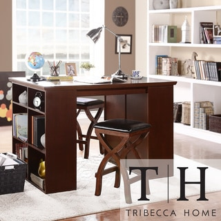 Tribecca Home Jaidyn Espresso 3-piece Counter Height Storage Dining Set