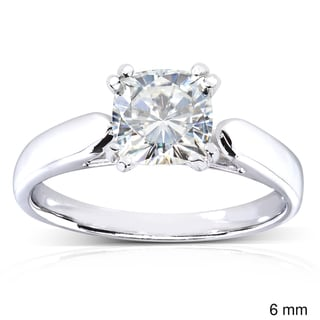 Annello 14k White Gold Cushion-cut Moissanite Solitaire Engagement-style Ring with Bonus Item