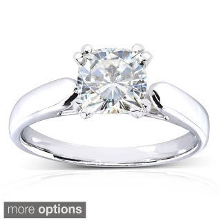 14k White Gold Cushion-cut Moissanite Solitaire Engagement-style Ring