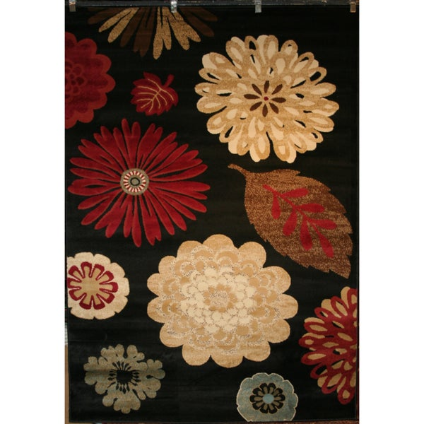 Contemprary Flora Kaleidoscope Black Area Rug (7'10 x 9'10)
