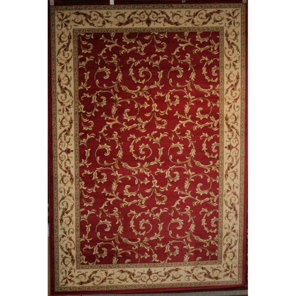 Machine -Made Juliette Collection Ivy Red Polypropylene Rug (7'10 x 9'10)