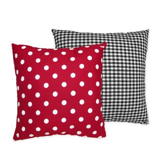 Sweet JoJo Designs Red and White Ladybug Polka Dot Throw Pillow