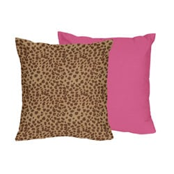 Sweet JoJo Designs Cheetah Girl Pink and Brown Throw Pillow