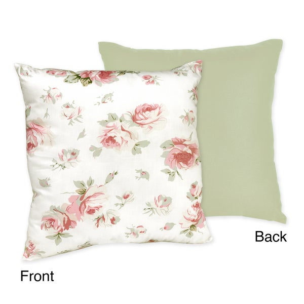 Sweet JoJo Designs 'Riley's Roses' Reversible 16-inch Decorative Pillow