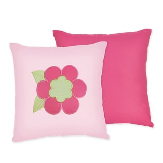 Sweet JoJo Designs Pink and Green Flower 16-inch Reversible Decorative Pillow