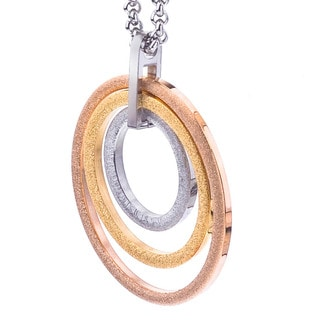 Tri-color Stainless Steel Oval Design Fashion Necklace