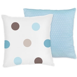 Sweet JoJo Designs Mod Dots Blue 16-inch Reversible Decorative Pillow