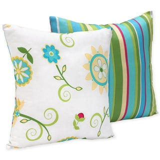 Sweet JoJo Designs Layla Turquoise and Lime 16-inch Reversible Decorative Throw Pillow