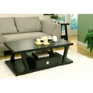 Furniture of America Naudine Black Finish 1-drawer Coffee Table