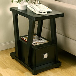 Naudine 1-drawer Black End Table
