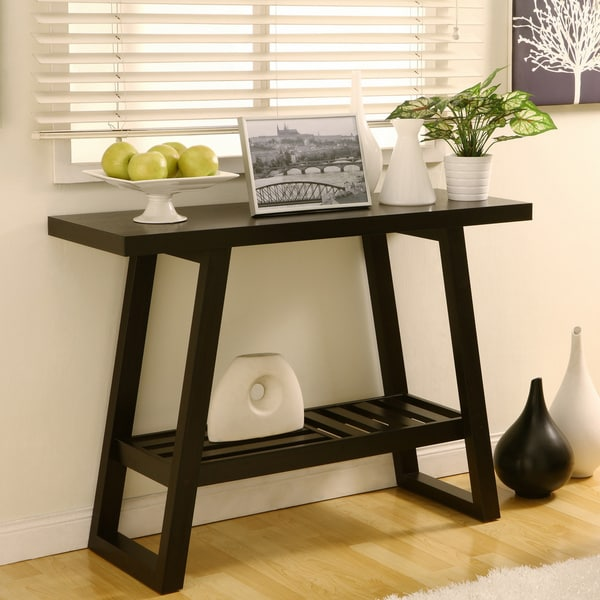 Furniture of America Celine Cappuccino Finish Flared Sofa Table