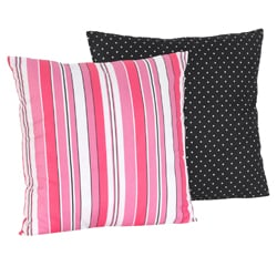 Sweet JoJo Designs Madison Pink Stripes Black Dot Reversible 16-inch Decorative Pillow