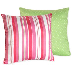 Sweet JoJo Designs 'Olivia' Pink Stripe/ Green Dots Reversible 16-inch Decorative Pillow