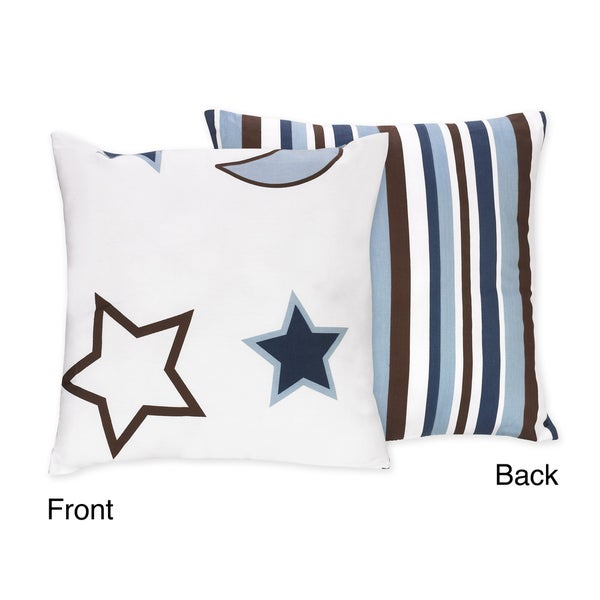 Sweet JoJo Designs 'Starry Night' Blue/ Brown Reversible 16-inch Decorative Pillow