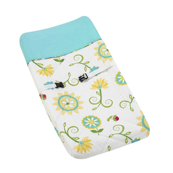 Sweet JoJo Designs Turquoise and Lime Layla Baby Changing Pad Cover