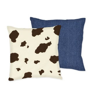 Sweet JoJo Designs 'Wild West' Cow/ Denim Reversible 16-inch Decorative Pillow