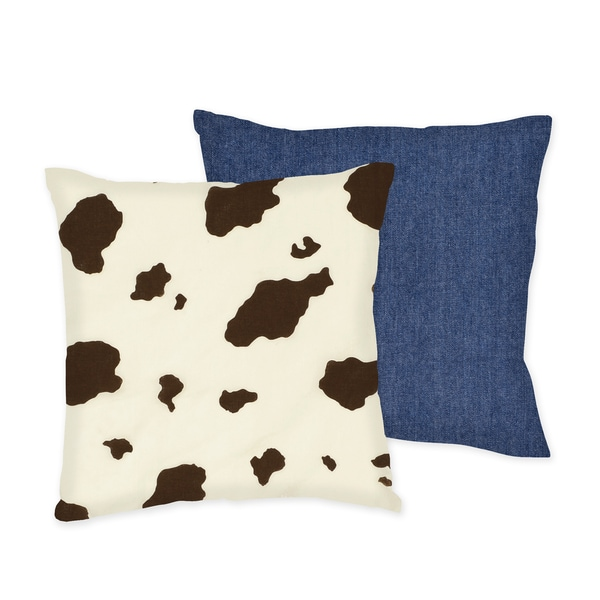 Sweet JoJo Designs 'Wild West' Cow/ Denim Reversible 16-inch Decorative Pillow