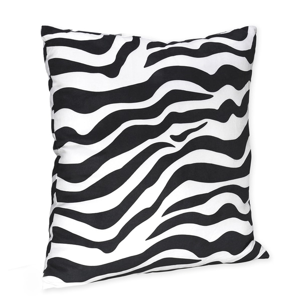 Sweet JoJo Designs Black/ White Zebra Print 16-inch Decorative Pillow