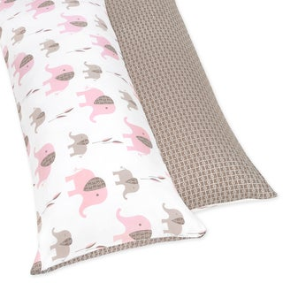Sweet JoJo Designs Pink and Taupe Mod Elephant Full Length Double Zippered Body Pillow Case Cover