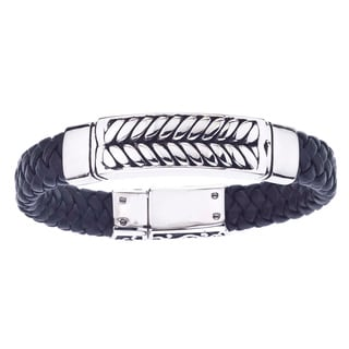 Stainless Steel and Black Leather Antiqued-Finish Men's Braided Bracelet