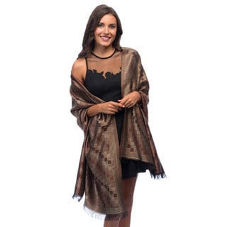 Selection Privee Paris 'Bruna' Evening Dressy Brown Plaid Reversible Silk Shawl
