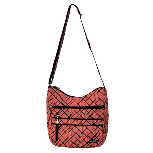 Jenni Chan Women's Red Brush Strokes Soft Crossbody Tote Bag