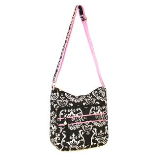 Jenni Chan Women's Black/Pink Damask Soft Crossbody Tote Bag