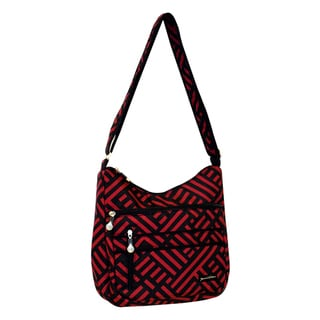Jenni Chan Women's Black/Red Signature Soft Crossbody Tote Bag