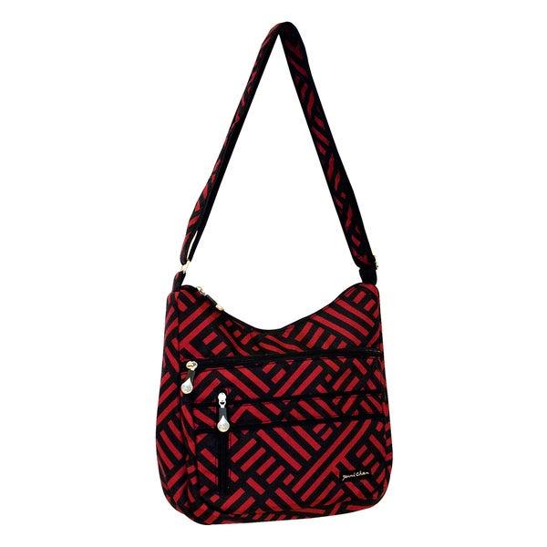 Jenni Chan Women's Black/Red Signature Soft Crossbody Tote Bag