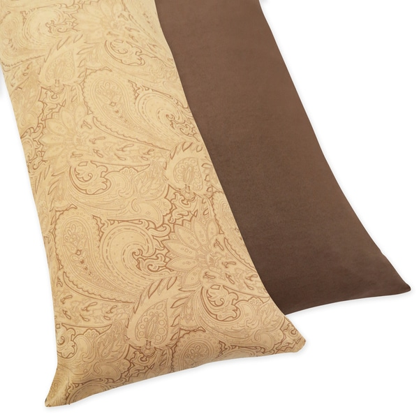 Sweet JoJo Designs Camel and Chocolate Paisley Reversible Body Pillow Case
