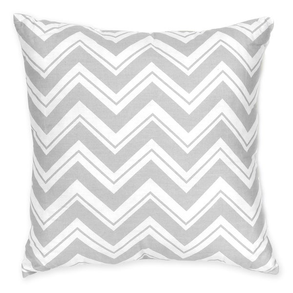 Sweet JoJo Designs Zig Zag Yellow and Grey Reversible 16-inch Decorative Pillow