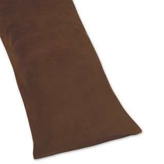 Sweet Jojo Designs Chocolate Brown Full Length Microsuede Double Zippered Body Pillow Case Cover
